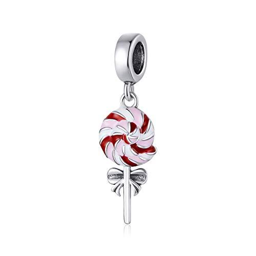 Colgante Lollipop de plata de ley 925 con colgante de esmalte colorido compatible con pulseras Pandora