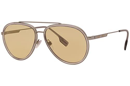 Burberry Oliver BE 3125 1003/8 Gunmetal Metal Aviator Gafas de sol Amarillo Lens