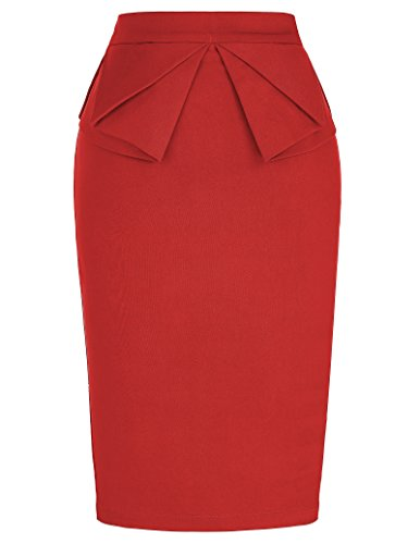 GRACE KARIN 50s Vintage Pencil Skirt for Women Knee Length Red XL