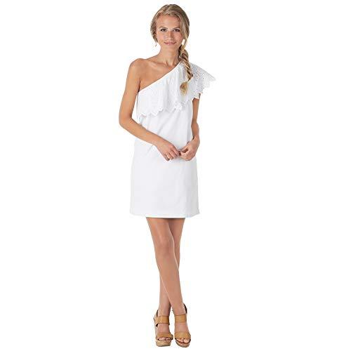 Mud Pie Women's Cotton Poplin One-Shoulder Dress White...