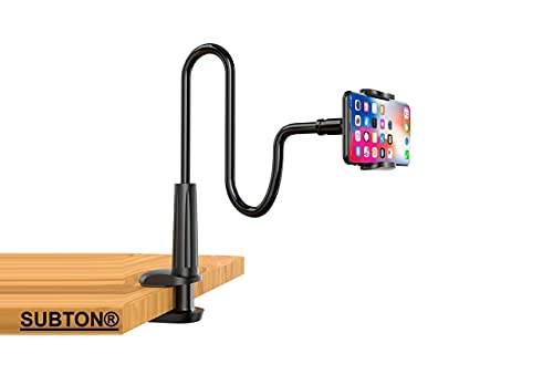 SUBTON Overhead Gooseneck Mobile Stand Tripod with 360 Degree Rotation Mobile Clip | for Watching & Making Cooking Sketch Product Review Videos