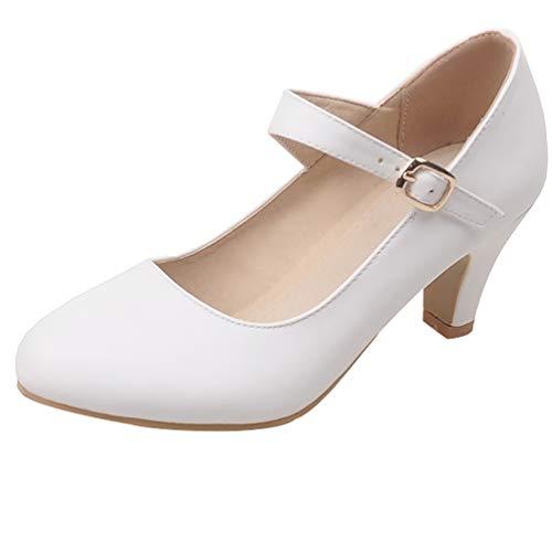 LUXMAX Damen Kitten High Heels Mary Jane Pumps Blockabsatz mit 5cm Niedriger Absatz Schuhe Weiße Pumps Hochzeit 39