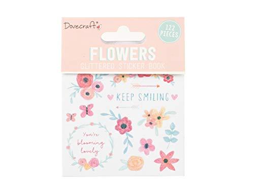 Dovecraft Book-Flowers-114 Adesivi Glitterati per Artigianato, cancelleria, diario, Carta, Multicolore, Taglia Unica