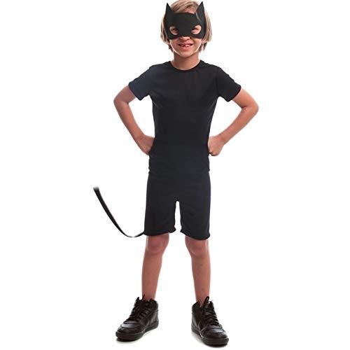 Fantasia de Halloween Infantil Masculina Animais Gato Preto Curta P 2-4