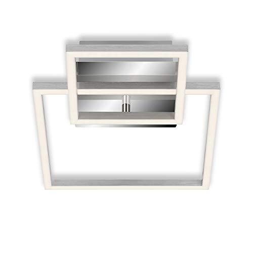 Briloner Leuchten - Deckenleuchte, Deckenlampe dimmbar, inkl. Memoryfunktion, 1 LED-Modul drehbar, 19,6 Watt, 1.500 Lumen, 3.000 Kelvin, Chrom-Alu, 358x260x75mm (LxBxH), 3118-018