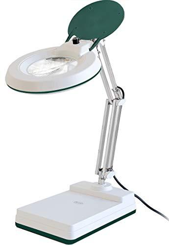 Gynnx拡大鏡ランプ、30ジオプター、調光可能10X拡大デスクランプ、120個のLED、5インチレンズ、ステンレススチールアーム(緑)