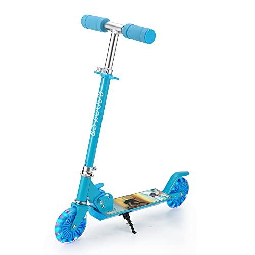 Patinete Niño, 2 LED Ruedas Intermitente, para 4 a 12 Años Niño y niña, Manillar Ajustable, Diseño Plegable, Carga Máxima de 100kg (Azul)