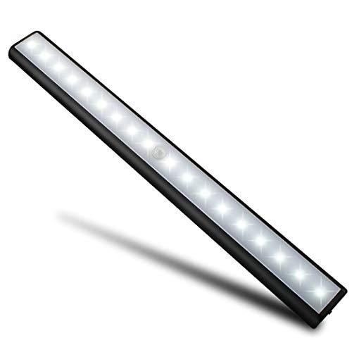 Motion Sensor Light Wireless Cabinet Lights for Closet,Drawer,Cupboard, 18-led Motion Sensing Under Cabinet Lighting,USB Rechargeable Magnetic Stick-on Anywhere LED Light Bar, White Light, Black
