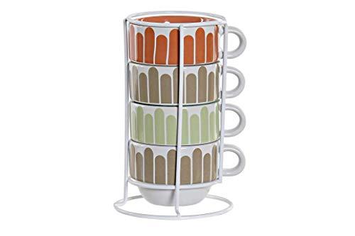 Juego Set de 4 tazas de café Expreso Gres Apilables con Soporte Metálico, 190 ml, medidas 11X9X17,5cm. Porcelana Diseño Original Multicolor