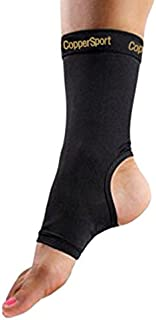 CopperSport Copper Compression Ankle Sleeve Support - Suitable for Athletics, Tennis, Golf, Basketball, Sports, Weightlifting, Joint Pain Relief, Injury Recovery (Single Sleeve)
