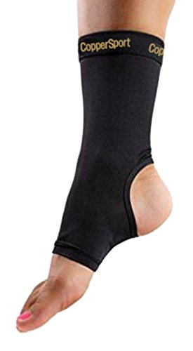 CopperSport Copper Compression Ankle Sleeve Support - Suitable for Athletics, Tennis, Golf, Basketball, Sports, Weightlifting, Joint Pain Relief, Injury Recovery (Single Sleeve), Black, X-Large