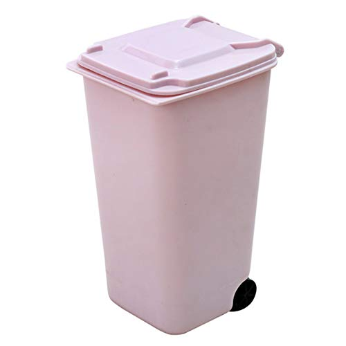 1PC Mini Mülleimer Desktop-Mülleimer mit Deckel Durable Mini Mülltonne Bleistift-Schale-Halter mit Lippen & Rad für Hauptschule-Büro (Pink)
