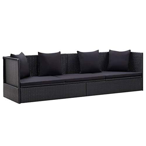 Extaum Gartensofa Sonnenliege Gartenmöbel Lounge Witterungsbeständig mit Auflage und Kissen Poly Rattan Schwarz