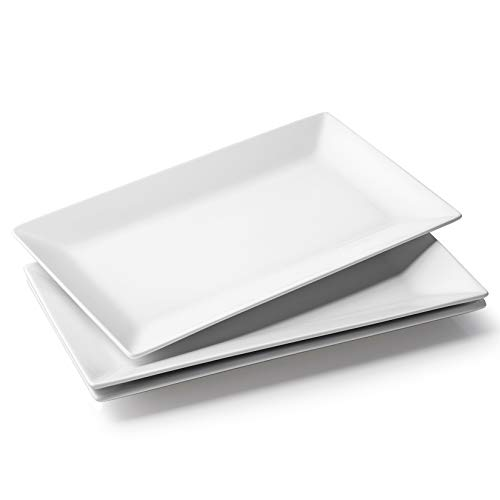DOWAN Porcelain Rectangular Serving Platters - 14 Inches Large White Oven Safe Rectangle Serving Plate Dinner Plates for Meat, Appetizers, Dessert, Food, Party, Set of 3, White
