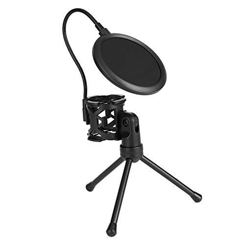 ASHATA Microfoonstandaard met popbescherming, instelbare microfoonhouder, microfoon, popbescherming, absorberend, filter, standaard, draagbaar, schokbestendige microfoon, tafelhouder, standaard, statief, zwart