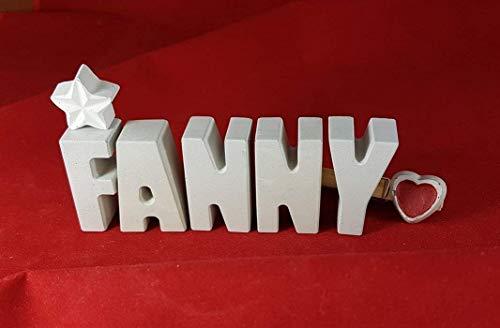 Beton, Steinguss Buchstaben 3D Deko Namen FANNY mit Stern und Herzklammer als Geschenk verpackt! Ein ausgefallenes Geschenk zur Geburt, Taufe, Geburtstag oder auch zu Weihnachten.