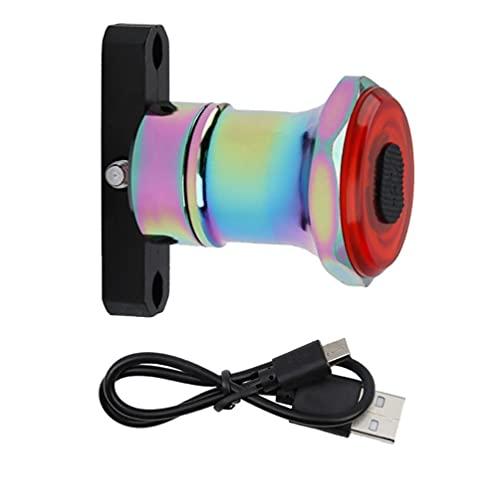 Uayasily Sensor De Bicicleta Luz Trasera Inteligente USB Inducción Freno Trasero Llevada Recargable Lámpara De Seguridad para Bicicletas (Colorido)