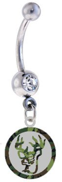 DEER Camo Camouflage & Silver Metal Charm Sexy Cute Belly Button Navel Ring