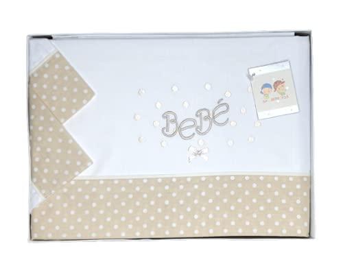 Sabanas Cuna 60x120 algodon 100% - (bajera+encimera+funda almohada) Fabricadas en España (Bebe beige)