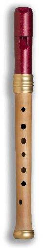 Mollenhauer 1117R Adris Traumflöte Renaissance-Art Sopran-Blockflöte Barock Einfachloch (OHNE Doppelloch!) - Kunststoff-Holz-Kombination: Kopf Kunststoff Purpurrot, Unterteil Birnenholz, Natur - weite Bohrung, weiter Klang