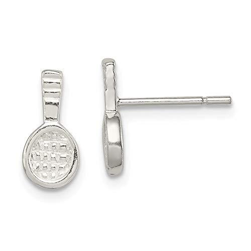 Mini-Ohrringe für Damen, 925er Sterlingsilber, Tennisschläger