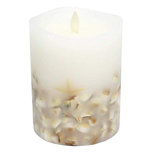 Darice Luminara Flameless Pillar Candle with Seashells - White Wax - 4 x 5 inches