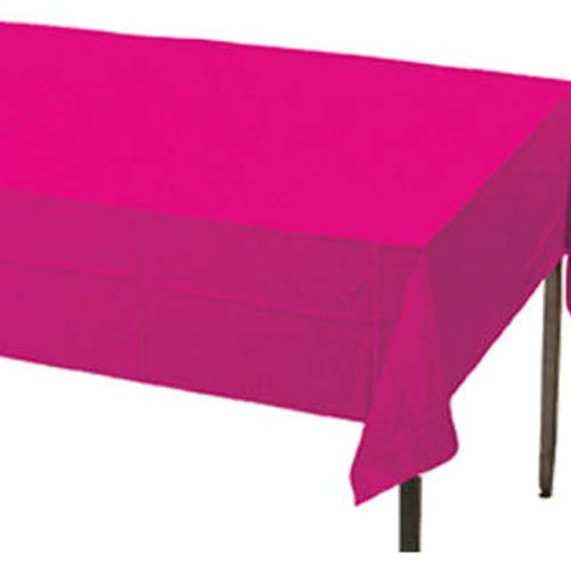 Creative Converting Plastic Banquet Table Cover, Hot Magenta, 54