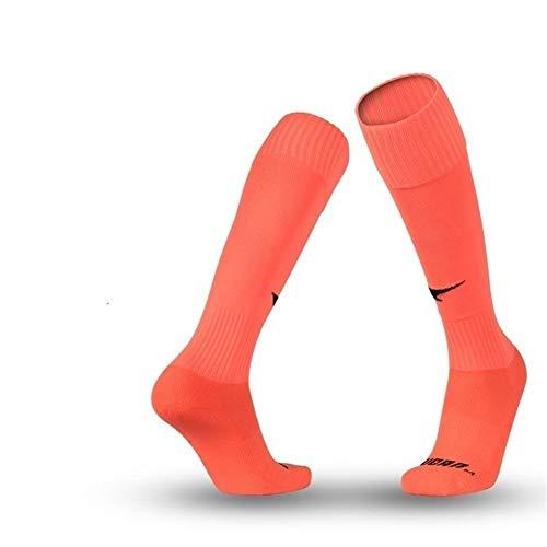 ZYXM Long tube football socks professional competition sports towel bottom breathable socks outdoor running hiking socks basketball socks for men and women (Color : Fluorescent orange M (39-42))