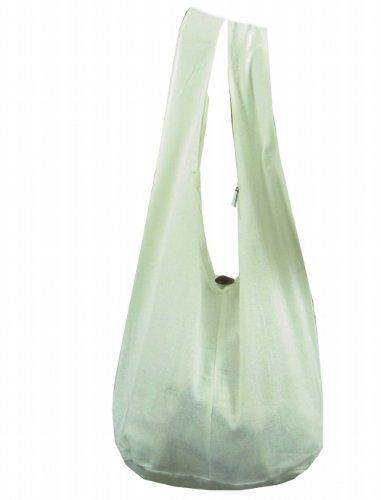 BTP! Thai Monk Buddha Cotton Sling Crossbody Messenger Bag Shlouder Purse Hippie Hobo Medium M2 (White M1)