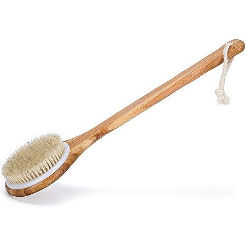 Bath Dry Body Brush, Duschwäscher mit natürlichen Borsten und langem Griff gegen Cellulite, Peeling, Entgiftung