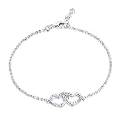 YL Pulsera Corazon Plata de Ley 925 con AAA Blanco Circonita Corazón Pulsera Joyeria para Mujer Madre Mamá(16+3CM)
