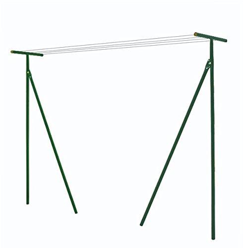 Étendoir linge extérieur capacité 60m. 60m de cordes nylon fournies. Potences en acier. Laqué Epoxy vert.