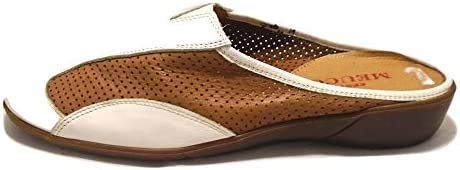 Sesto Meucci Calissa Tek White Tan Leather Slide Flat-8 N