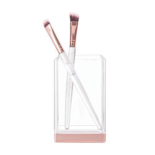 iDesign porte brosse à dents, gobelet transparent en plastique, rangement salle de bain pour brosse à dents, maquillages ou cosmétiques, transparent/or rose