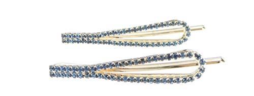 Coppia di 2 fermagli per capelli ovali con cristalli scintillanti