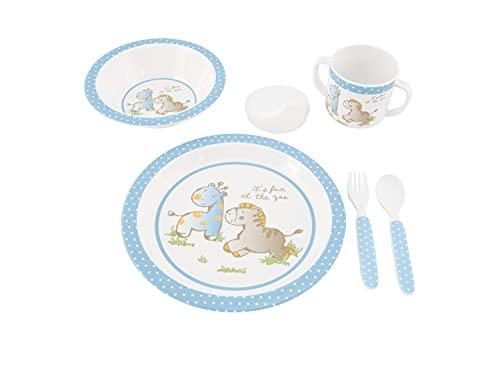 Bieco Baby Geschirrset mit Tiermotiv   5-teiliges Baby Geschirr   Kindergeschirr aus Melamin   Geschirr Baby für Kleinkinder   Baby Essen Set   Babygeschirr Set   blau