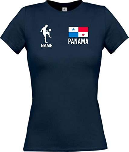 Shirtstown - Camiseta de fútbol para mujer, diseño de Panamá con nombre personalizado azul marino S