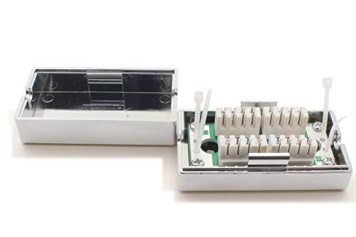1aTTack.de 367436 LSA+ Netzwerk Anschlussbox Verbindungsbox Verlängerung LSA+ Montage CAT.5 - (1 Stück) - Silber