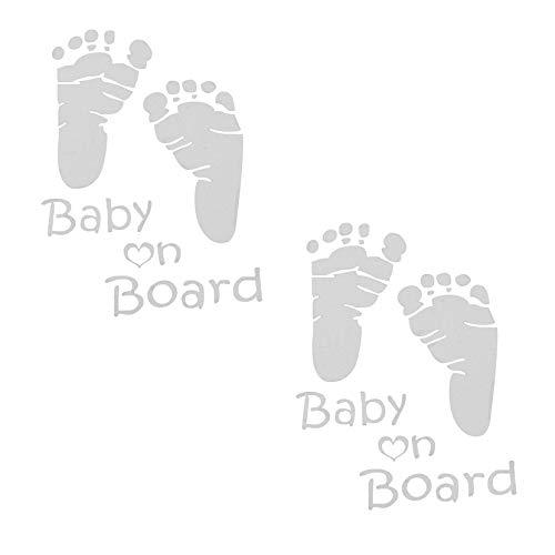 HALJIA 2 Stück Baby Feet on Board Neuheit Kinder Fußspuren Autoaufkleber Sicherheitsschild Niedlich Reflektierende Warnhinweise Auto Hinten Van Bike Auto Fenster Stoßstange Vinyl Aufkleber