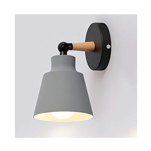 GSYNXYYA Aplique empotrable, Cocina nórdica de la Cocina de Madera Lámpara de Pared E27, Moderna Lámpara de Pared de cabecera LED Minimalista, 12 * 13 * 10 cm,Gris,Single