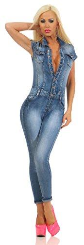 Fashion4Young 10947 Damen Jeans Overall Hosenanzug Einteiler Kurzarm Jumpsuit Denim Knöpfe (blau, XS-34)