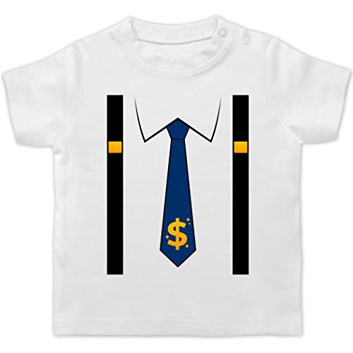 Karneval und Fasching Baby - Anzug Kostüm mit Dollarzeichen Krawatte - 18/24 Monate - Weiß - Krawatte - BZ02 - Baby T-Shirt Kurzarm