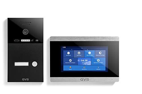 GVS 4-Draht/IP Video Türsprechanlage, Aufputz-Türstation IP65 mit RFID, 1x 7 Zoll Monitor, App, HD-Kamera 120°, Türöffnerfkt, 32GB Speicher, PoE-Switch, 1 Familienhaus Set, AVS4225A