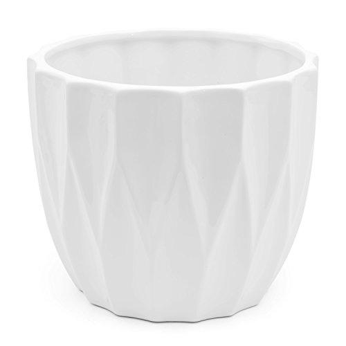 Vaso in ceramica serie AMSTERDAM di Polnix, altezza 16,5 cm, colore: bianco