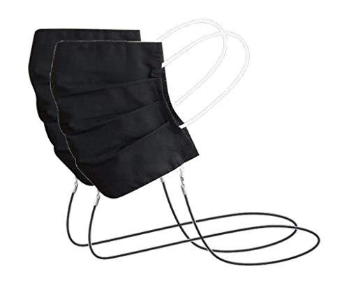 Preisvergleich Produktbild Green Exit - 2er Pack Waschbarer Mund-Nasen-Mundschutz zum Umhängen aus Baumwolle,  2x Schwarz
