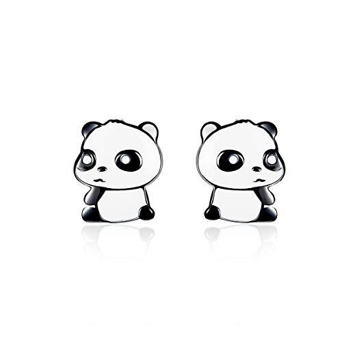 Orecchini a perno in argento per donna Orecchini a forma di panda Orecchini a bottone per animali Regali per donne Ragazze