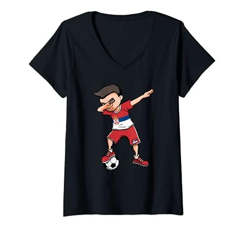 Damen Dabbing Soccer Boy Serbien Fußball Fans Trikot Serbische Flagge T-Shirt mit V-Ausschnitt