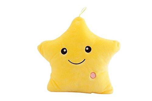 VORCOOL Creativo Estrella Brillante Almohada de Felpa cojín Throw Pillow LED Estrella de luz Niños Dormitorio Almohadas Decorativas (Amarillo)