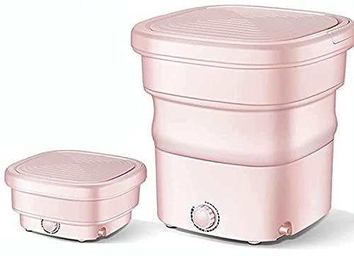 LXNQG Mini Lavadora portátil, Lavadora Plegable con Secadora de Giro, desinfección de ozono, electrodomésticos Semi-automáticos pequeños, Rosa (Color : Green)