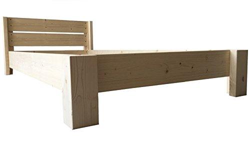 LIEGEWERK Bett Holz massiv mit Kopfteil Designbett Holzbett 90 100 120 140 160 180 200 x 200cm hergestellt in BRD Massivholzbett (140 cm x 200 cm)